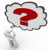 Question Mark Thinker Thought Bubble Thinking of Answer — Stock Photo