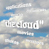 Cloud Computing Words in Sky Photos Movies Documents Application — Stock Photo