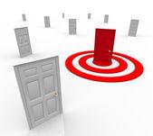 One Targeted Door Address in Bulls-Eye Target Marketing — Stock Photo