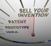 Sell Your Invention Words on Speedometer Steps for Inventing — Stock Photo