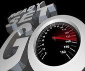 Listo para establece velocímetro ir partida carrera competencia — Foto de Stock