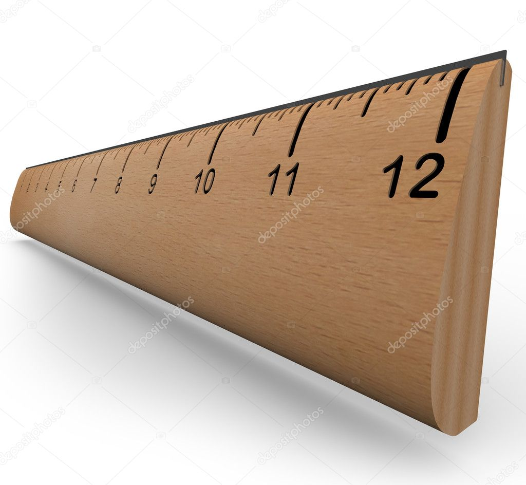 A wooden ruler with numbers and increment markings in a 3d rendering with shadow on white background — Стоковая фотография #6270207