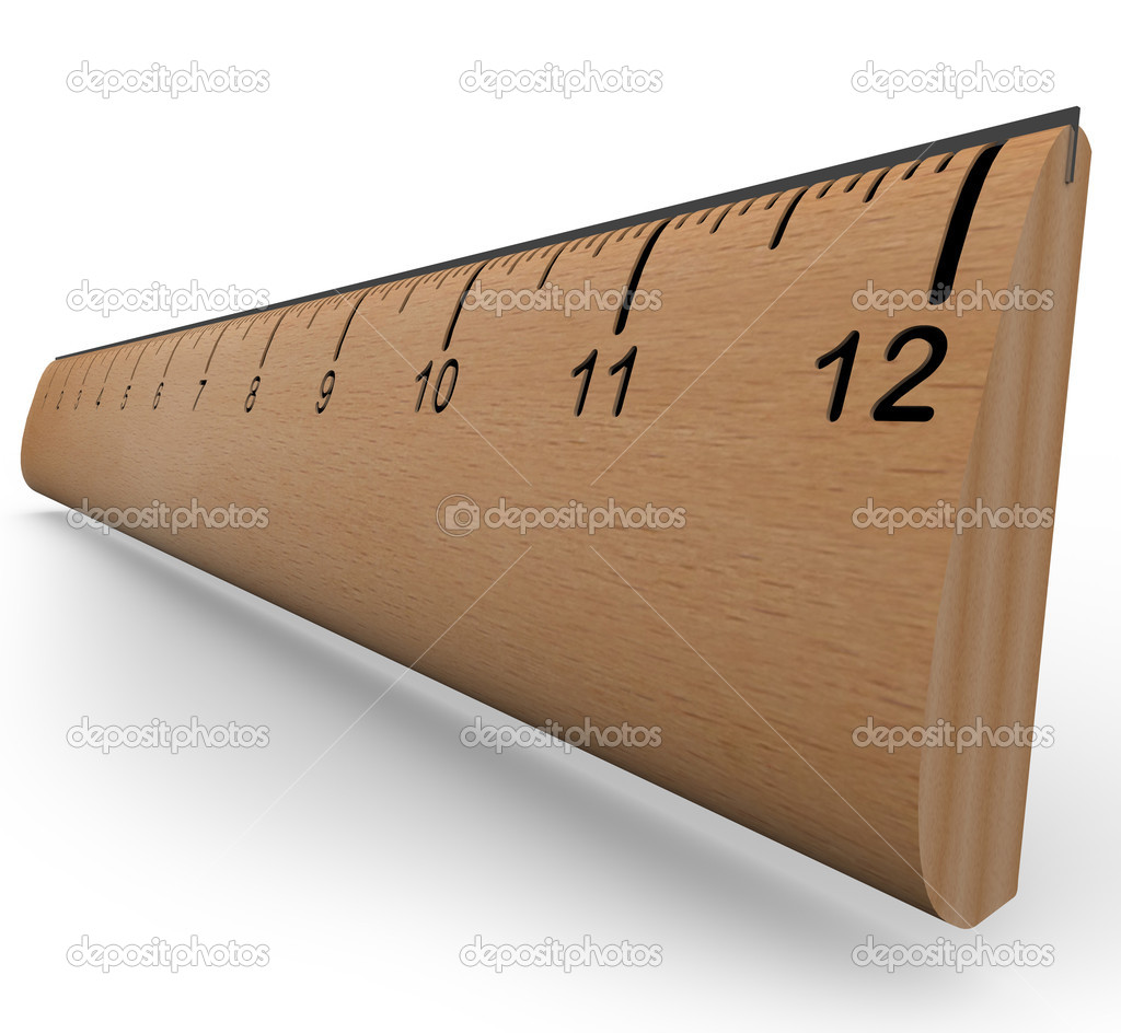 A wooden ruler with numbers and increment markings in a 3d rendering with shadow on white background   #6270207