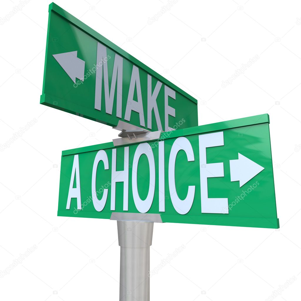 A green two-way street sign pointing to the words Make a Choice, illustrating the need to decide between 2 different alternatives in business or life in general — Foto de Stock   #6270250