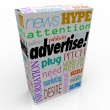 Advertise Marketing Words on Product Box for Sale — Stock Photo
