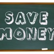 Save Money Words on Chalkboard Education Savings — 图库照片
