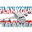 Stockfoto: PlYour Travel Itinerary Words Airplane Background