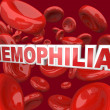 Hemophilia Disorder Disease Word in Blood Stream in Red Cells - Stock Photo
