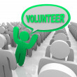 Volunteer Speech Bubble Person in Helper Crowd - Stock Photo