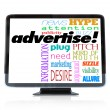 Advertise Marketing Words on HDTV Television — Stock Photo