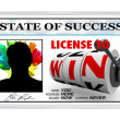 License to Win Laminated ID Card Opportunity for Success - Stock Photo