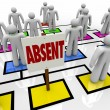 Absent Person on Organizational Chart - Lateness or Tardiness - Stock Photo