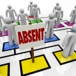 Absent Person on Organizational Chart - Lateness or Tardiness — 图库照片