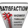 Satisfaction Thermometer Measuring Happiness Fulfillment Level — Stockfoto
