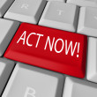 Act Now Red Key on Computer Keyboard Urgent Action — Stock Photo