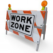 Work Zone Barricade Construction Sign Closed Area - Stock Photo