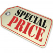 Price Tag - Special Clearance Prices Cost Less During Sale - Foto Stock