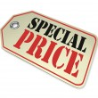 Price Tag - Special Clearance Prices Cost Less During Sale - Foto de Stock