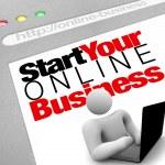 网站-开始您的在线业务指示上市网站 — 图库照片