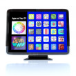 Royalty-Free Stock Photo: Apps Icon Tiles on High Definition Television HDTV