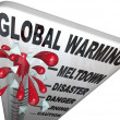 Global Warming Thermometer Shows Rise in World Temperatures — Stock Photo #6637565
