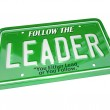 Leader - License Plate Word Leadership Top Manager — Stock Photo