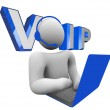 VOIP Person Talking on Computer Voice Over Internet Protocol — Stock Photo #6637573