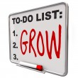 To-Do List - Grow Word on Dry Erase Board - Stockfoto