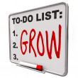 To-Do List - Grow Word on Dry Erase Board - Foto de Stock