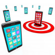 Targeted Smart Phone Application Icons for Apps — Foto de Stock