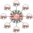 Affiliate Marketing Linked Connections of Referrals and Money - Stock Photo