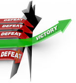 Victory Over Defeat One Successful Arrow Rises to Win — Stock Photo