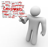Censored - Man Edits Text Censoring Freedom of Speech — Stock Photo