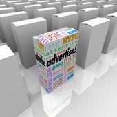 Reklama że słowa na polu przechowywania półki unikalne marketingu — Zdjęcie stockowe