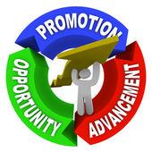 促进提高地位的机会把人吊起职业生涯箭头 — 图库照片