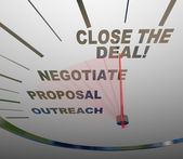Close the Deal Speedometer Sales Process to Agreement — Stock Photo