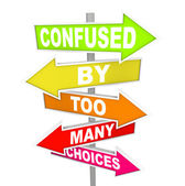 Confused by Too Many Choices Arrow Street Signs — Stock Photo
