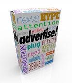 製品の箱に販売のためのマーケティング言葉を宣伝します。 — ストック写真