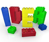 Idea Word in Toy Building Blocks Creative Play — Stock Photo