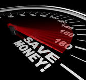 Save Money - Discount Sale Words on Speedometer — Stock Photo