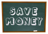 Save Money Words on Chalkboard Education Savings — Zdjęcie stockowe