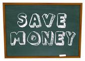 Zapisz pieniądze wyrazów na tablicy szkolnej edukacji oszczędności — Zdjęcie stockowe