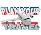 Plan Your Travel Itinerary Words Airplane Background — Stok fotoğraf