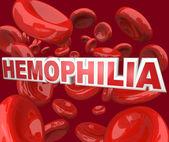 Hemophilia Disorder Disease Word in Blood Stream in Red Cells — Stock Photo