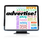 ハイビジョン テレビにマーケティング言葉を宣伝します。 — ストック写真