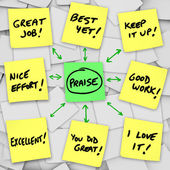 Praise Positive Reviews and Comments on Sticky Notes — Stock Photo