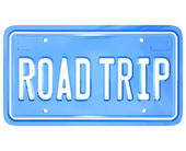Road Trip Words on Vanity License Plate Holiday Travel — Foto de Stock