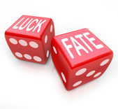 Luck and Fate - Two Red Dice Gambling Your Future — Stock Photo