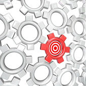 One Gear is Singled Out as Vital Part - Targeted Bulls-Eye — Stock Photo