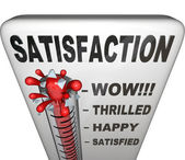 Satisfaction Thermometer Measuring Happiness Fulfillment Level — Zdjęcie stockowe